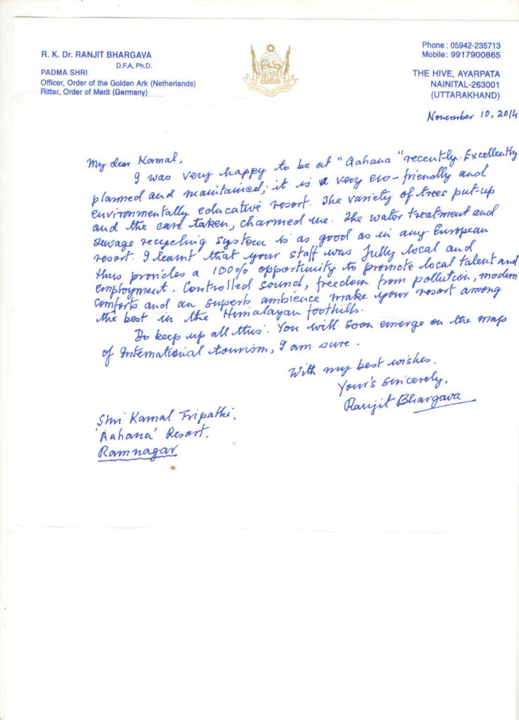 appreciation letter ranjit bhargava